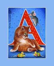 Alphabet Cat ACEO Print Letter A by I Garmashova