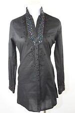 D10 Di Vita Black Sequin Trim Long Sleeve Tunic Blouse Shirt Top XS Small $275