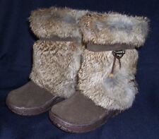 BEARPAW ~ Rabbit Fur Apres Ski Boots Girls Size 12 NWT