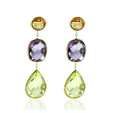 14K Yellow Gold Gemstone Earrings With Amethyst, Lemon Topaz And Citrine