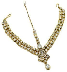 Bridal CZ White Head Piece Maang Tikka Matha Patti Wedding South Indian Jewelry