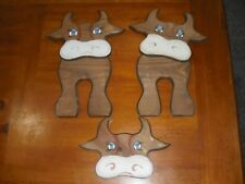 cow wooden hand painted hanging wall plaque set of 3 folk art