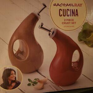 Rachael Ray Cucina Brown & Red Stoneware Oil & Vinegar Cruets NIB Very Nice!