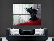 POSTER Guerriero Giapponese Samurai KATANA SPADA FANTASY Wall Art sangue Enorme Gigante