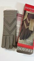 Isotoner women's one size 6-8 Taupe warm lined fabric & leather gloves