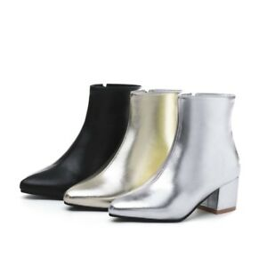 Ladies Party Shoes Synthetic Leather Med Heels Zip Up Ankle Boots AU Size b255