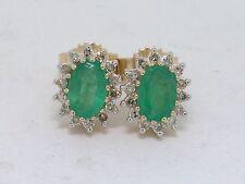 Smaragd Ohrstecker 585 Gelbgold 14Kt Gold 2 natürliche Smaragde   28 Diamanten