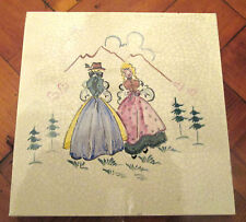 PRETTY VINTAGE DECORATIVE TILE HAND PAINTED