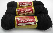 Fleisher's Win-Sport 100% DuPont Orlon Acrylic Yarn - 3 Skeins Color #450 Black