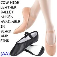Pink & Black LEATHER Ballet Dance Shoes full suede sole elastics jig pumps (AA)