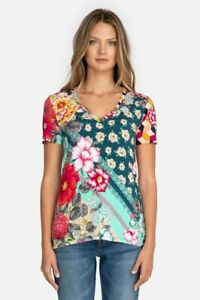 Johnny Was NELLIE FAVORITE SHORT SLEEVE V-NECK SLIM TEE T Shirt Floral Large NEW