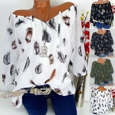 Women Summer Casual 3/4 Sleeve T Shirt V-Neck BohoTops Floral Loose Blouse