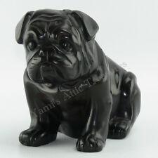 "Black Pug Bulldog Statue Figurine Heavy Resin 5.5"" H"