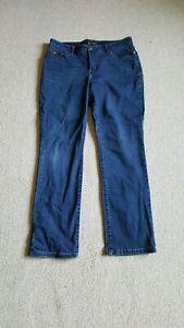 "Womens Jeans-LEE-blue ""Flex Motion"" stretch denim straight leg mid rise-12P"