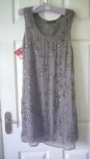 BNWT Rise taupe chiffon beaded shift dress. Fully lined size 12