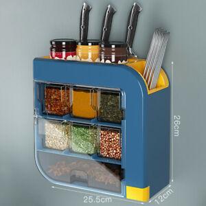 Kitchen Knife Holder Condiment Seasoning Shelf Salt Shaker Multifunctional Wal