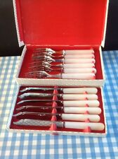 Vintage Retro Cutlery Set EPNS Fish Pearlised Lucite Handles Boxed