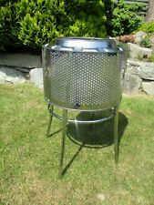 Drum Fire Pit BBQ etc.Stainless steel Washing Machine Drum Mounted on Chair Base