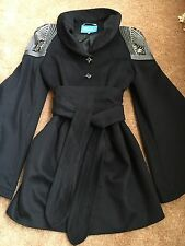 WOMEN'S TRENCH COAT /BLACK 75%WOOL With Decor/ SIZE M/