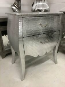 French Styled Moc Croc Silver Large Bombe Bedside Cabinet Bedroom Furniture