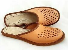 MENS 100% NATURAL LEATHER BROWN SLIPPERS MULES CLOGS SHOES ALL SIZES