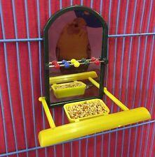 Bird Mirror Feeder Perch Bead Interactive Bird Toy Budgie Canary Cockatiel Finch