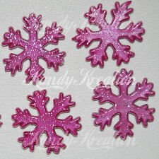 20 Pink Christmas Snowflake Beads Glitter for Necklace Plastic Frozen Crafts