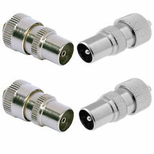 2 X MALE 2 X FEMALE TV AERIAL CONNECTOR PLUG SOCKET COAX