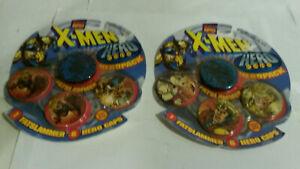 X Men Marvel heropack milk caps Pog Toy Biz lot 2 NOS on card 1995 dated
