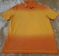 Mens MEDIUM Bugatchi Uomo Polo Orange burst Short Sleeve shirt 93% cotton euc