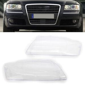 Pair Left&Right Headlight Headlamp Lens Cover for Audi A8 D3 2005-2010 06 07 08