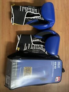 Everlast 1910 Leather Boxing Gloves Blue Black  12 Oz Training Work Out Gym