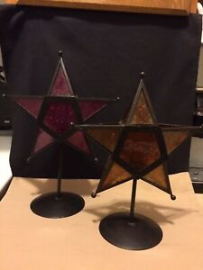 """Set of 2 Stained Glass Star Tea Light Candle Holders On Stands 14"""" & 12"""" High"""