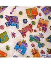 LAUREL BURCH FANTASTIC FELINES Fabric Aztec Cats Bright  FQ  OOP Hard To Find