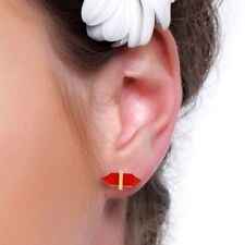 Red Onyx Gemstone 925 Silver Gold Plated Pencil Design Stud Earrings Jewelry
