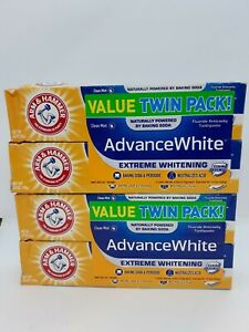 4 Pack Arm & Hammer Advance White Extreme Whitening Clean Mint Toothpaste 6 oz