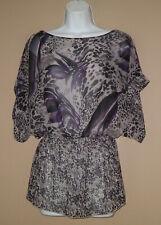 Womens Size XS Short Sleeve Black Gray Purple Floral Summer Blouse Top Shirt