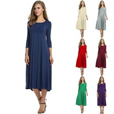 Womens Girls Long Sleeve Party Evening Skater Dress Midi Long Flared Solid Dress