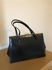 Vintage Black leather bag Made in England 60s 70s