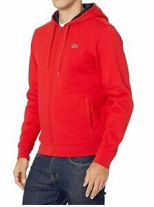 Lacoste Men's Sport Red Hoodie Fleece Sweatshirt Track Jacket Size 9  4XL
