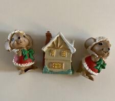 3 Vintage 1980's Hallmark Merry Miniatures Christmas Sweet Shop Mice