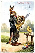 POSTCARD THIELE EASTER RABBIT WITH FRENCH HORN 1912 T.S.N. SERIES 1157