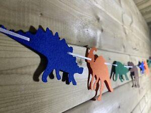 Dinosaur Garland Bunting 🦕8 Felt T-Rex & Friends Blue Green Orange Brown  5ft🦖
