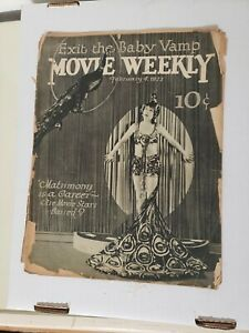 1922 Movie Weekly Magazine 30 Pages Vaudeville Vamp on Cover Dorothy Dalton