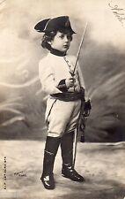 BM014 Carte Photo vintage card RPPC Enfant Fantaise soldat napoléon déguisement