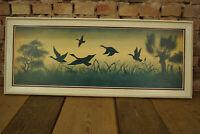 60er Ölbild Bild Mid-Century Design Vintage Öldruck Wildenten Deko Kunst 50er