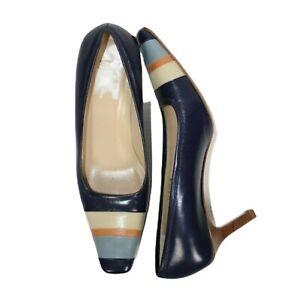Coach Size US 8 B Y2K Blue Colour Block Claudin Leather Court Shoes 7.5 cm Heel