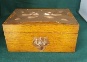 Arts and Crafts copper and oak box with key.