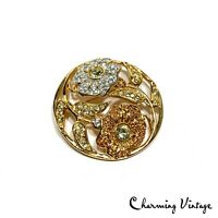 Vintage SWAROVSKI Pave Floral Crystal Rare Round Gold Tone Pin Brooch