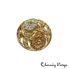 Vintage Swarovski Pave Floral Crystal Rare Round Gold Tone Pin Brooch